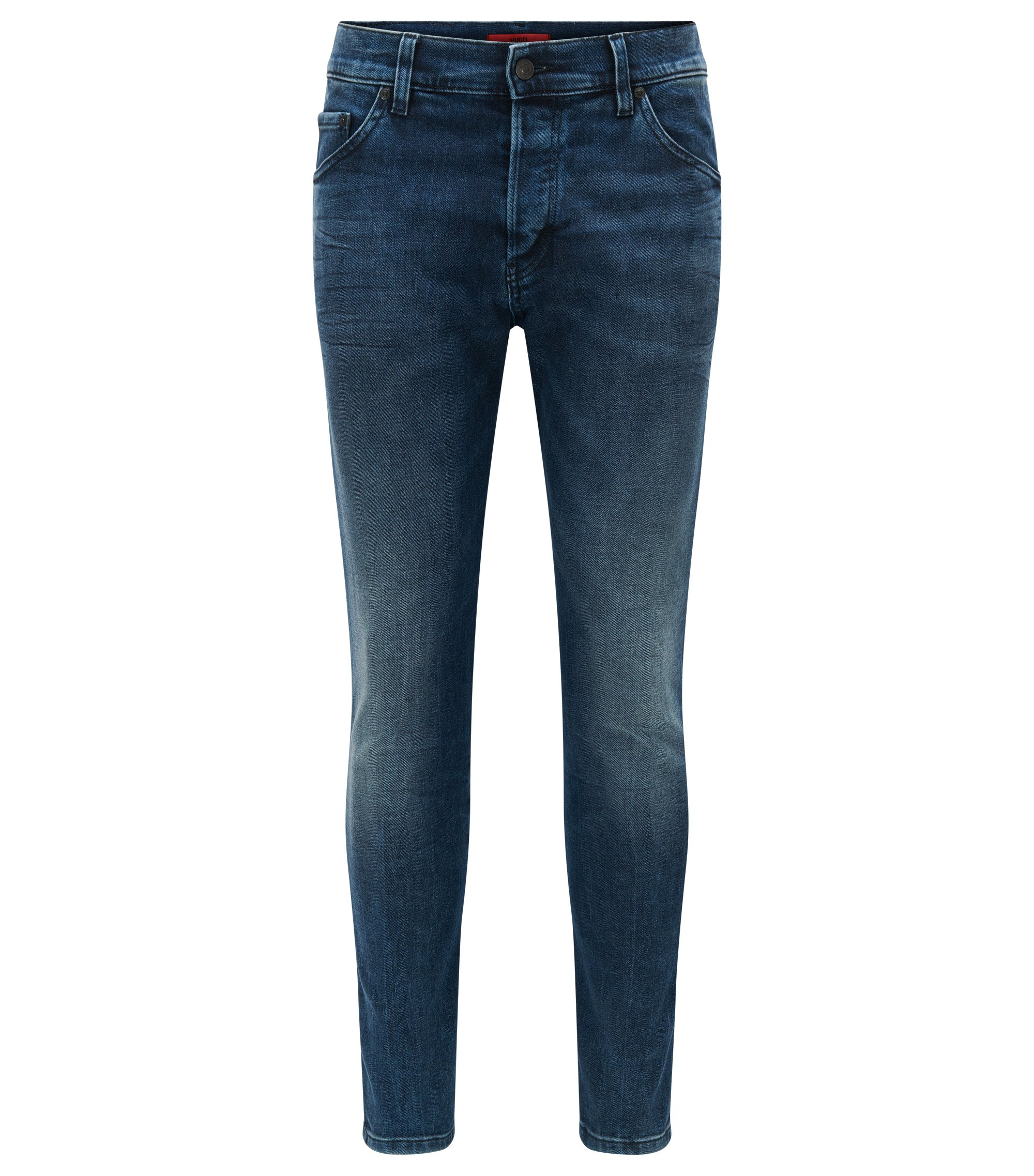 Tapered-fit jeans van stretchdenim met normale wassing, Turkoois
