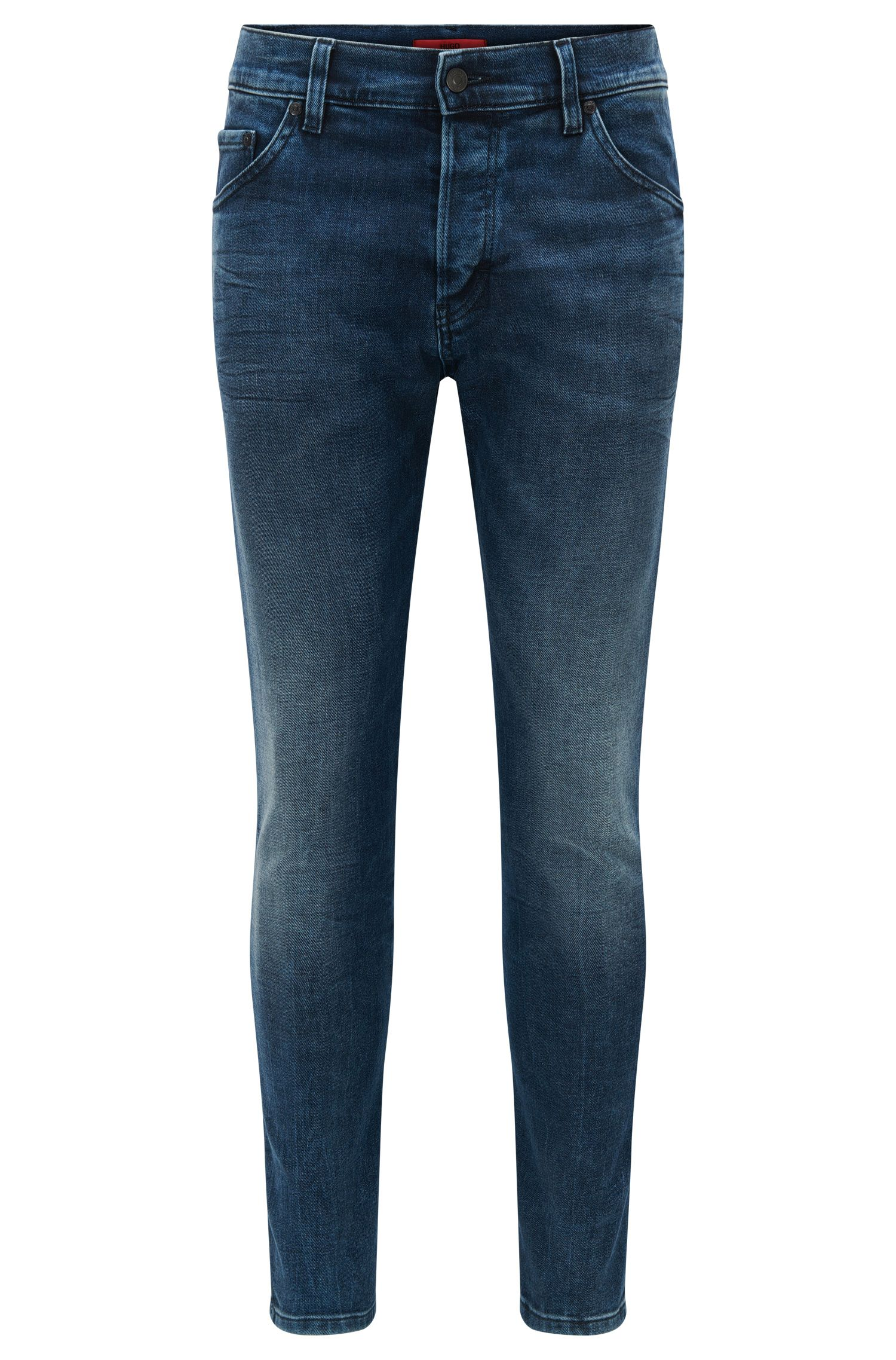 Tapered-fit mid-washed jeans in stretch denim