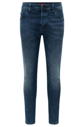 Tapered-fit mid-washed jeans in stretch denim, Turquoise