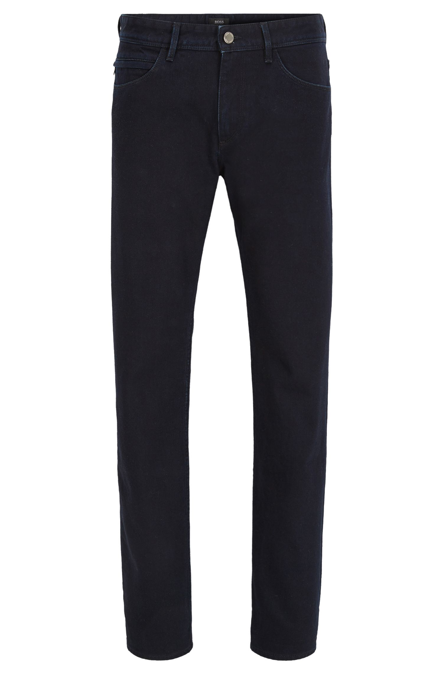 Slim-fit rinsed blue-black jeans in stretch denim