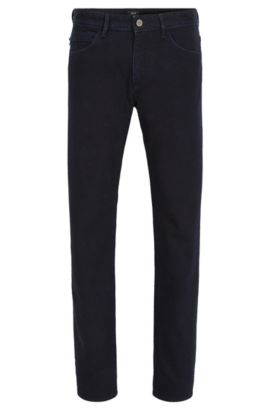Slim-fit rinsed blue-black jeans in stretch denim, Bleu foncé