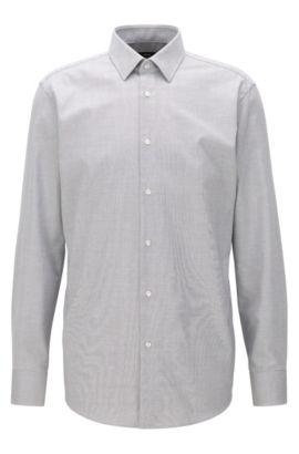 Regular-Fit Hemd aus Baumwoll-Popeline, Grau
