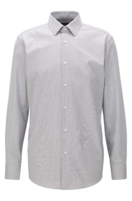Regular-fit shirt in cotton poplin, Grey