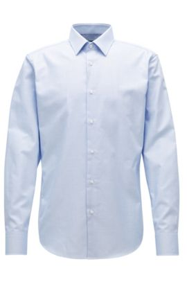 Regular-fit shirt in cotton poplin, Blue