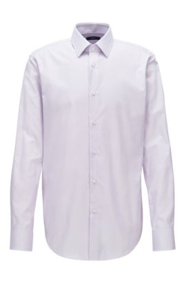 Regular-fit overhemd van katoenen popeline, Lichtpaars