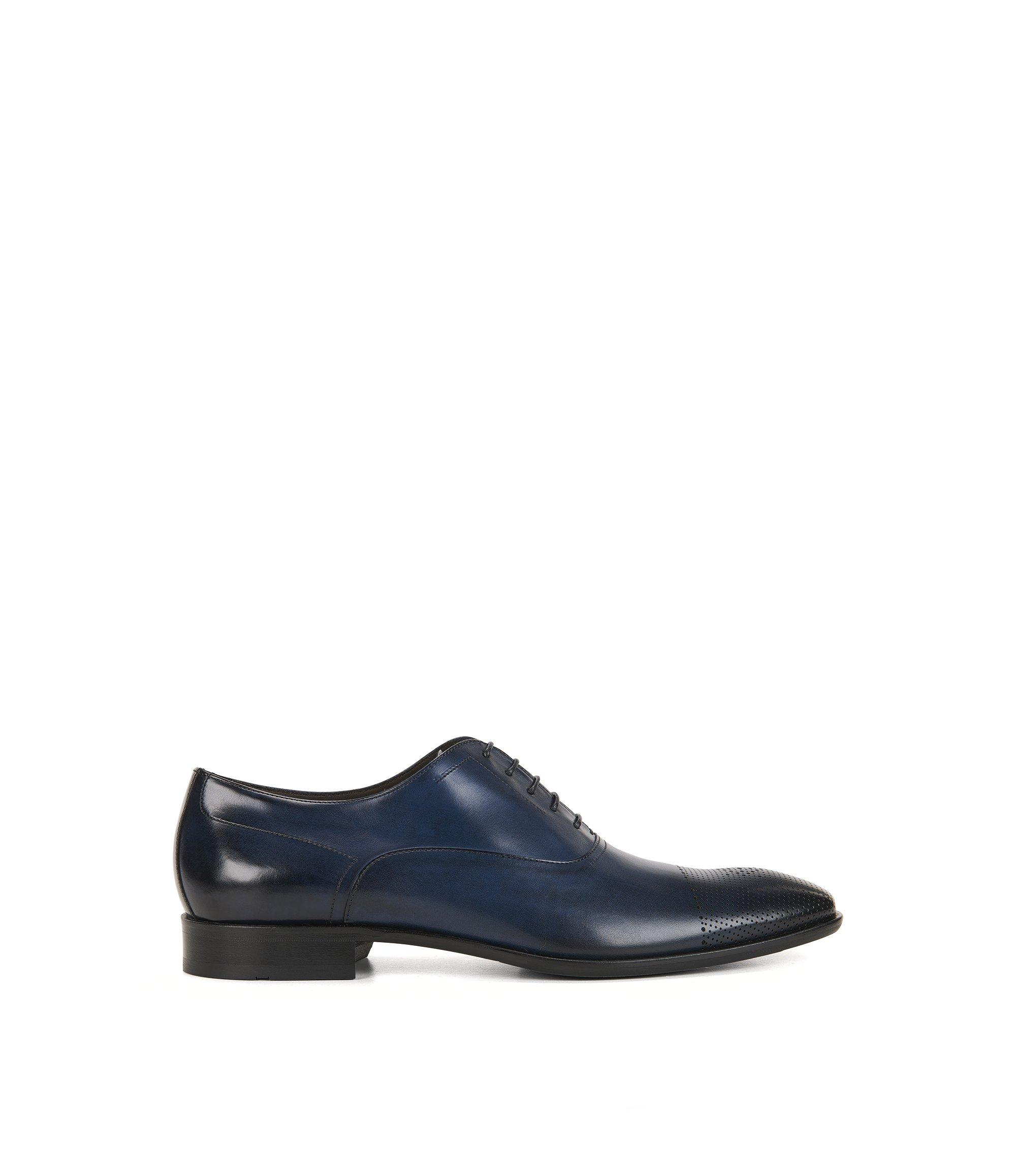 Scarpe Oxford in pelle con punta tagliata al laser, Blu scuro