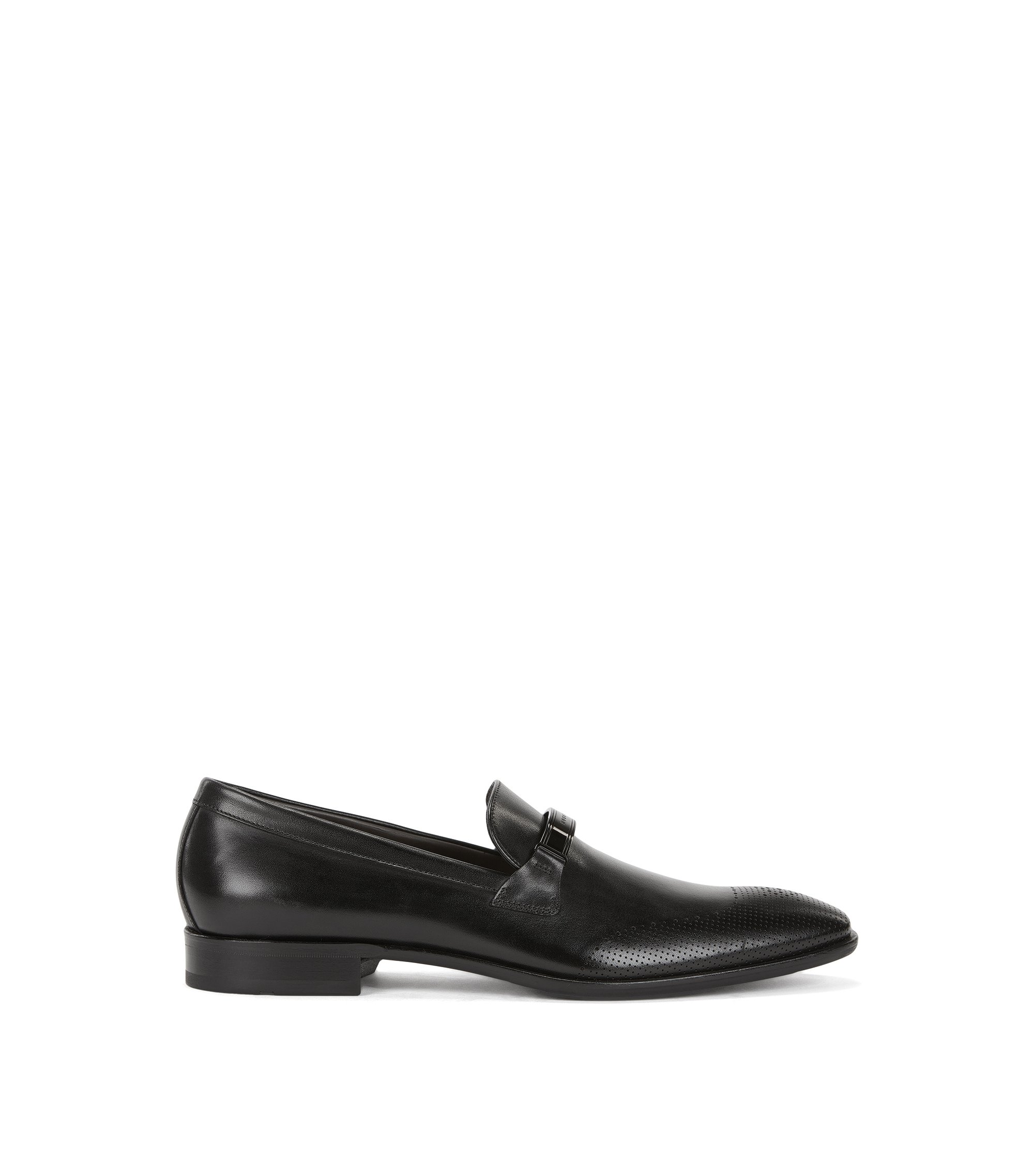 Leather loafers with laser-cut details, Black