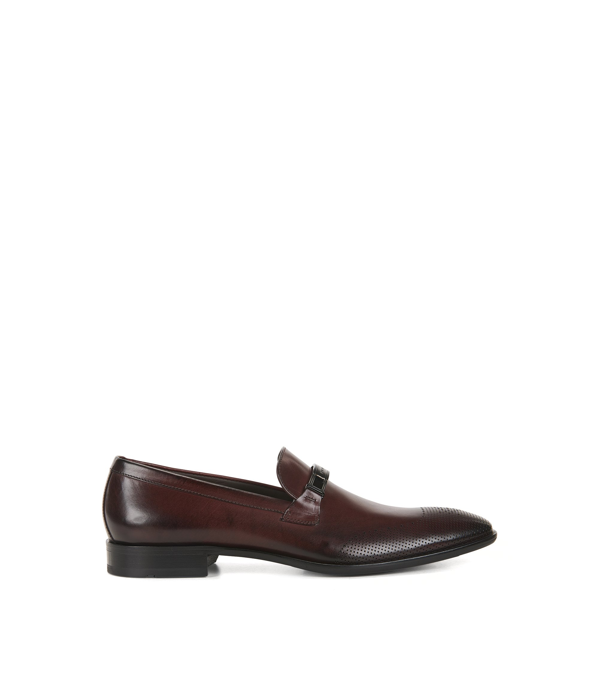 Leather loafers with laser-cut details, Dark Red