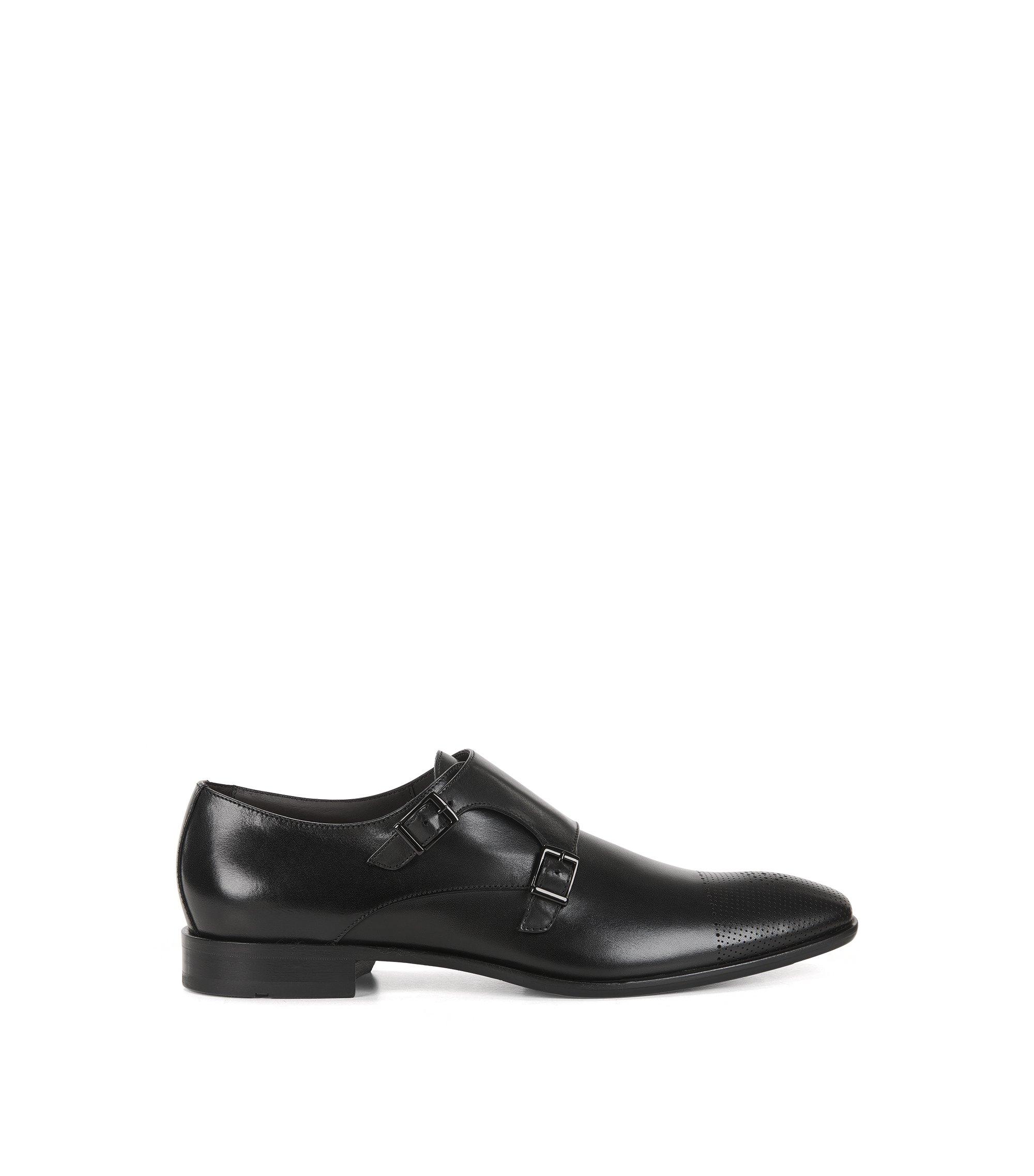Leather monk shoes with laser-cut toecap, Black