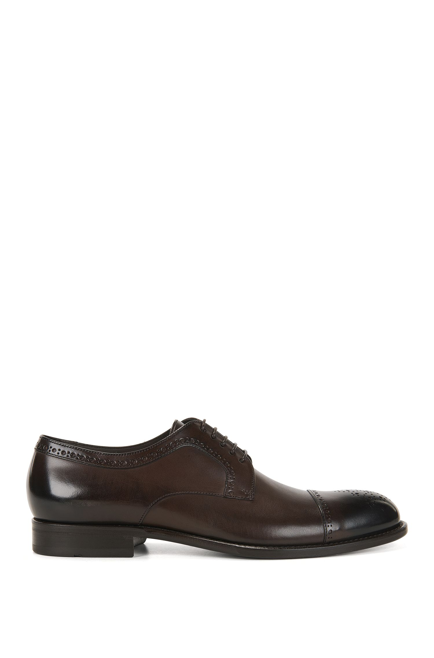 Leather Derby shoes with brogue details