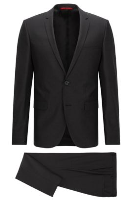 Extra-slim-fit suit in 3D patterned virgin wool, Black