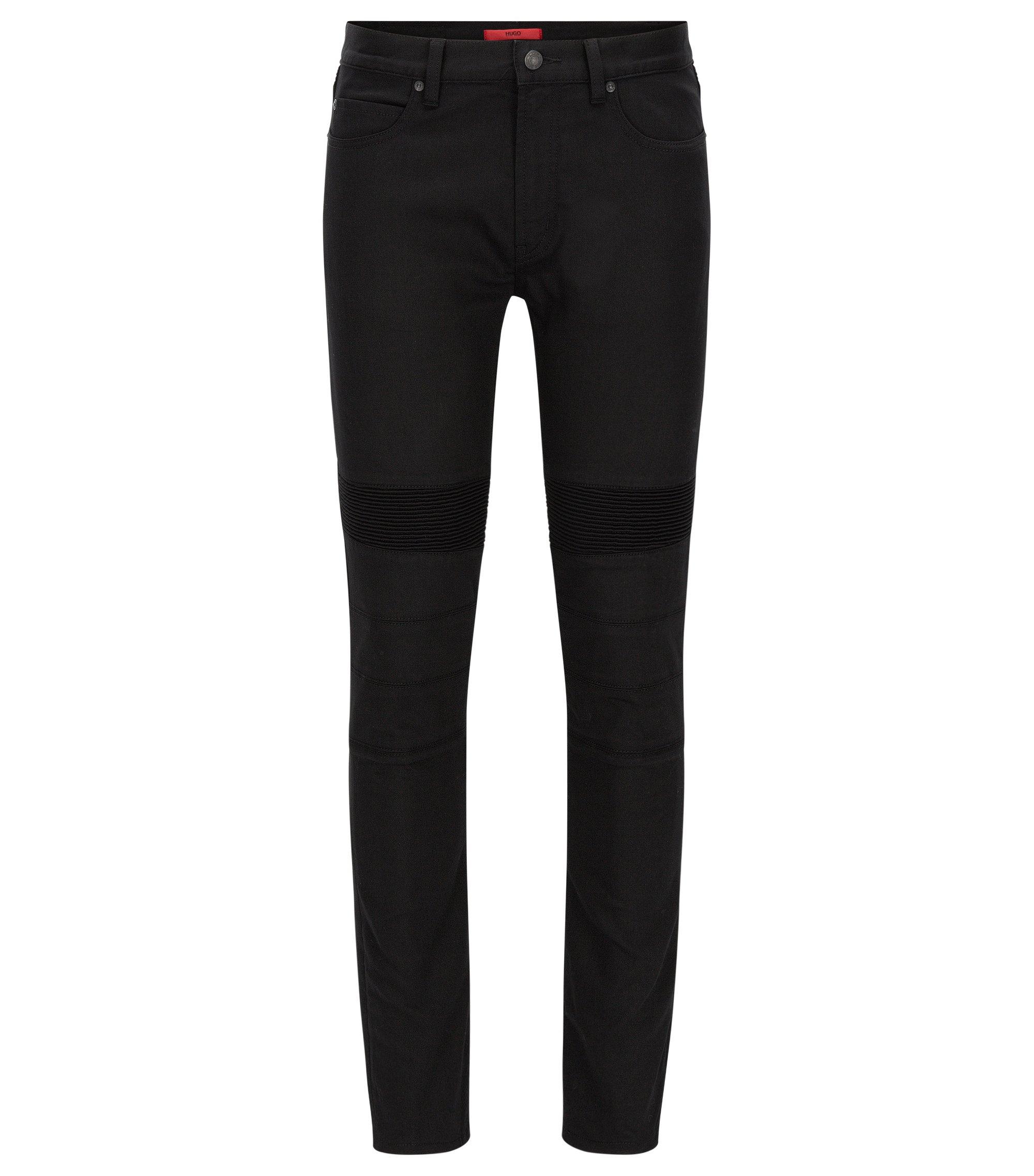 Jeans extra slim fit en denim stretch style motard, Noir