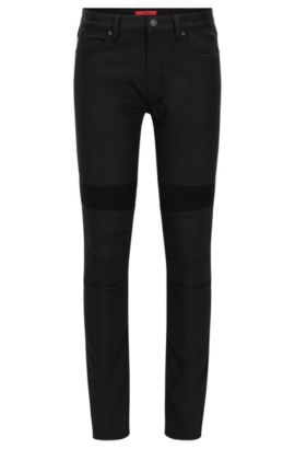 Extra Slim-Fit Jeans im Biker-Stil aus Stretch Denim, Schwarz