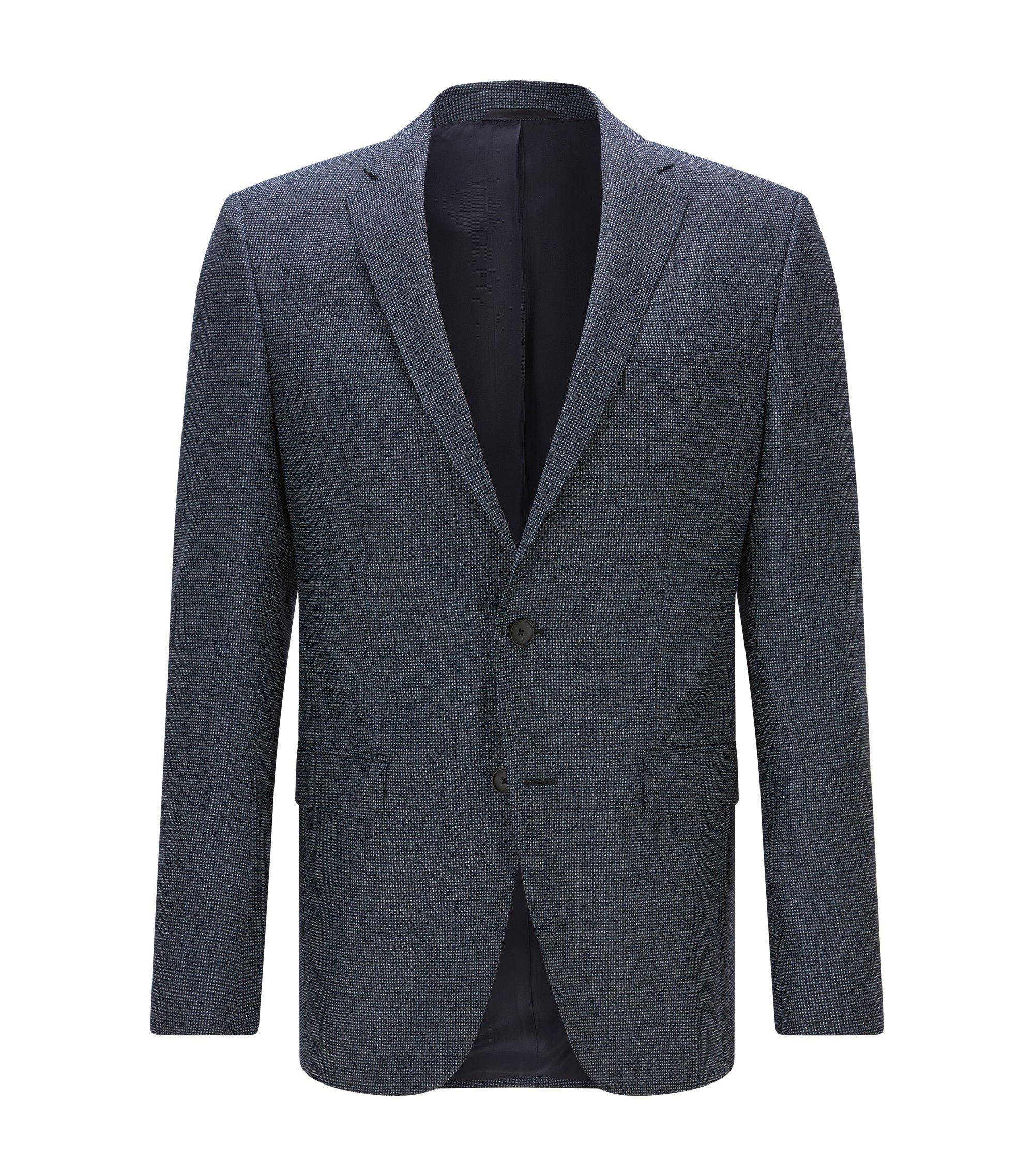 Giacca slim fit in lana vergine con toppe sui gomiti, Blu scuro