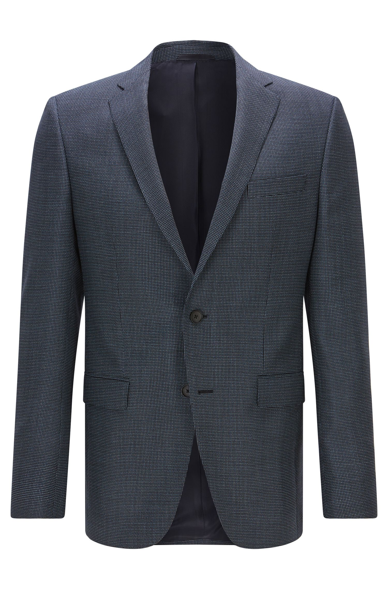 Slim-fit virgin-wool jacket with elbow patches