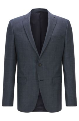 Slim-fit virgin-wool jacket with elbow patches, Dark Blue
