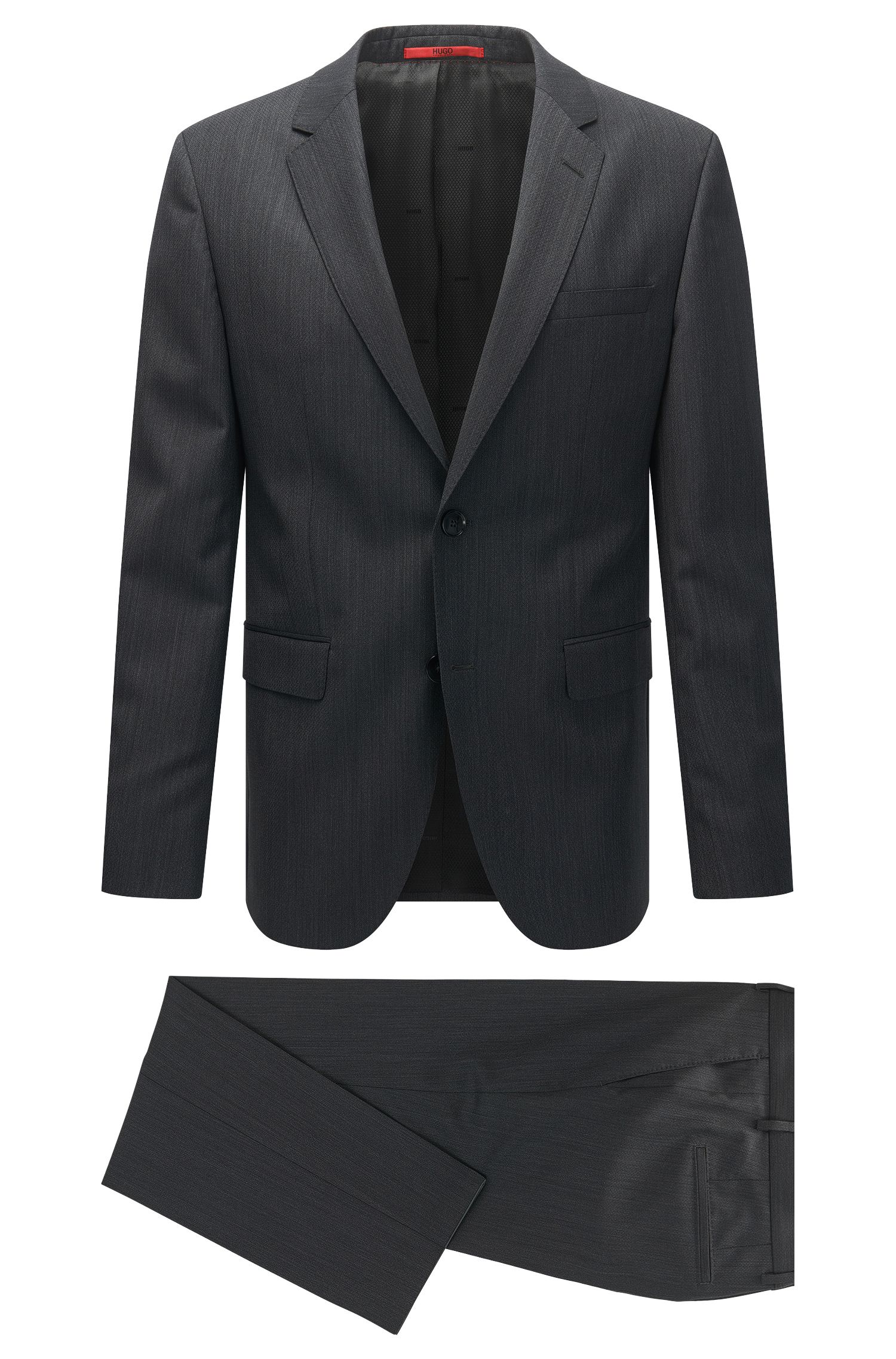Regular-fit suit in a textured virgin wool blend