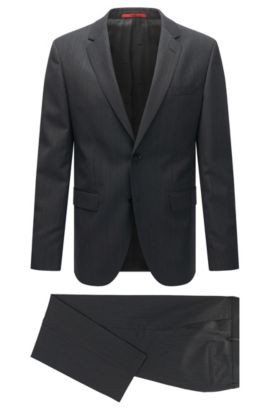 Regular-fit suit in a textured virgin wool blend, Anthracite