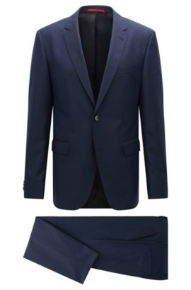Regular-fit suit in a textured virgin wool blend, Dark Blue