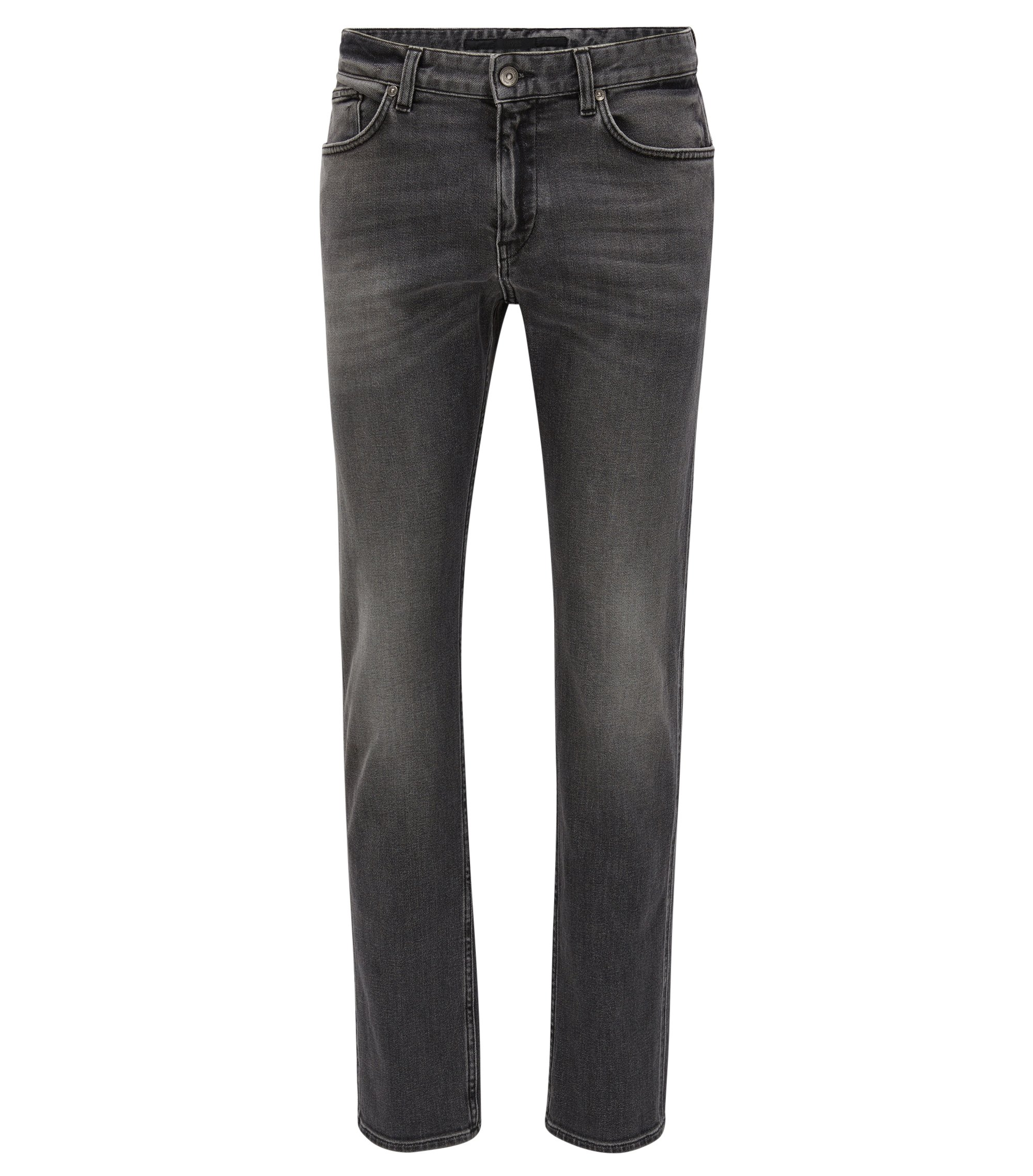 Jeans Slim Fit gris en denim stretch, au délavage moyen, Anthracite