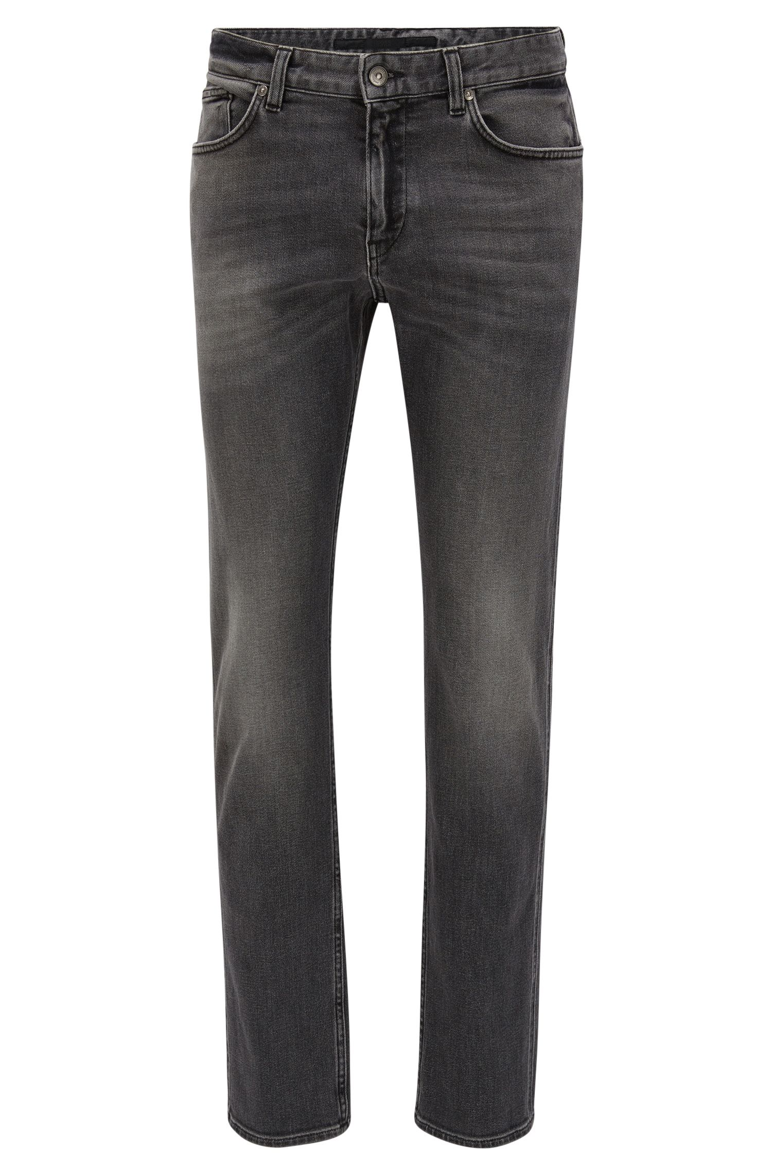 Grey slim-fit jeans in mid-washed stretch denim