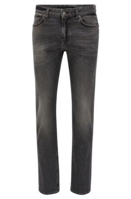 Grey slim-fit jeans in mid-washed stretch denim, Anthracite