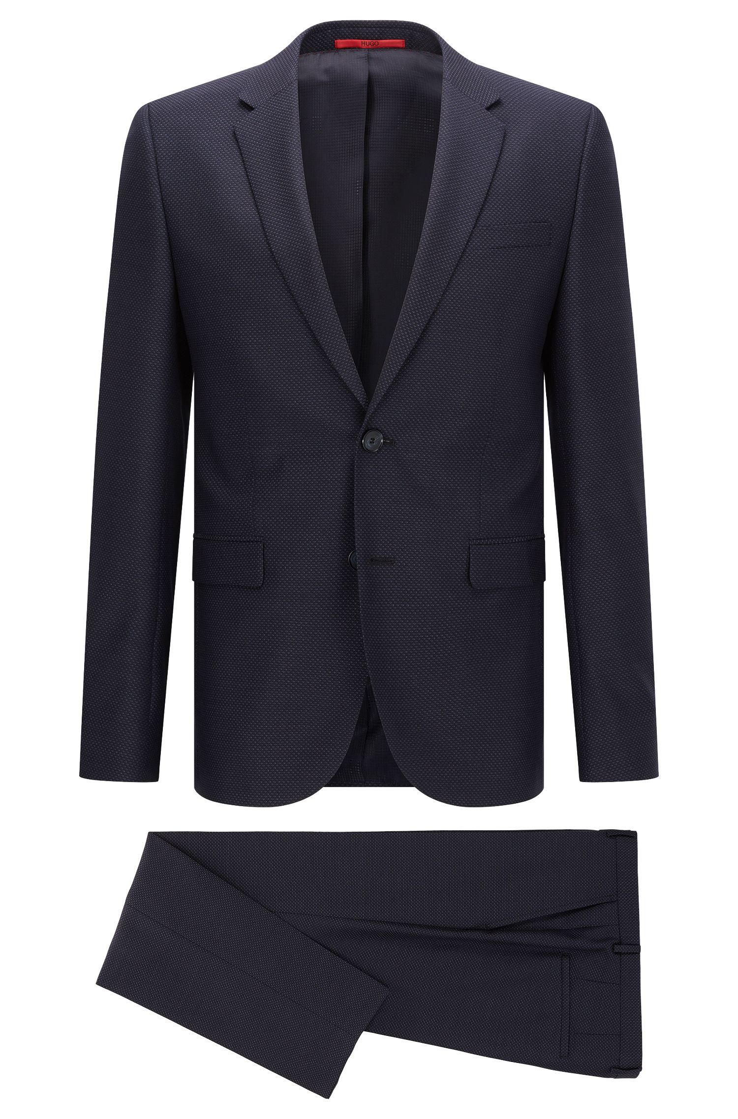 Extra-slim-fit suit in birdseye virgin wool
