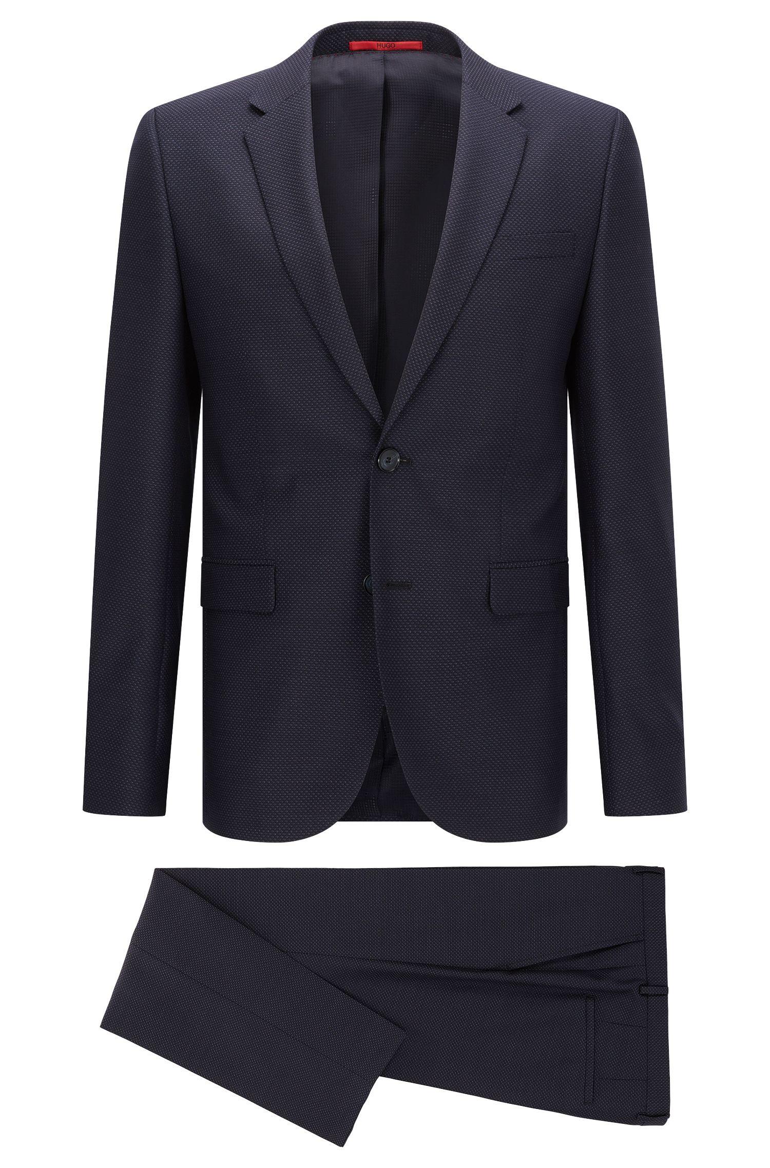 Extra-Slim-Fit-Anzug aus Schurwolle mit Birdseye-Muster