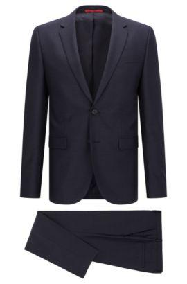 Extra slim-fit kostuum in scheerwol-piqué, Donkerblauw