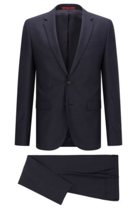 Extra-slim-fit suit in birdseye virgin wool, Dark Blue