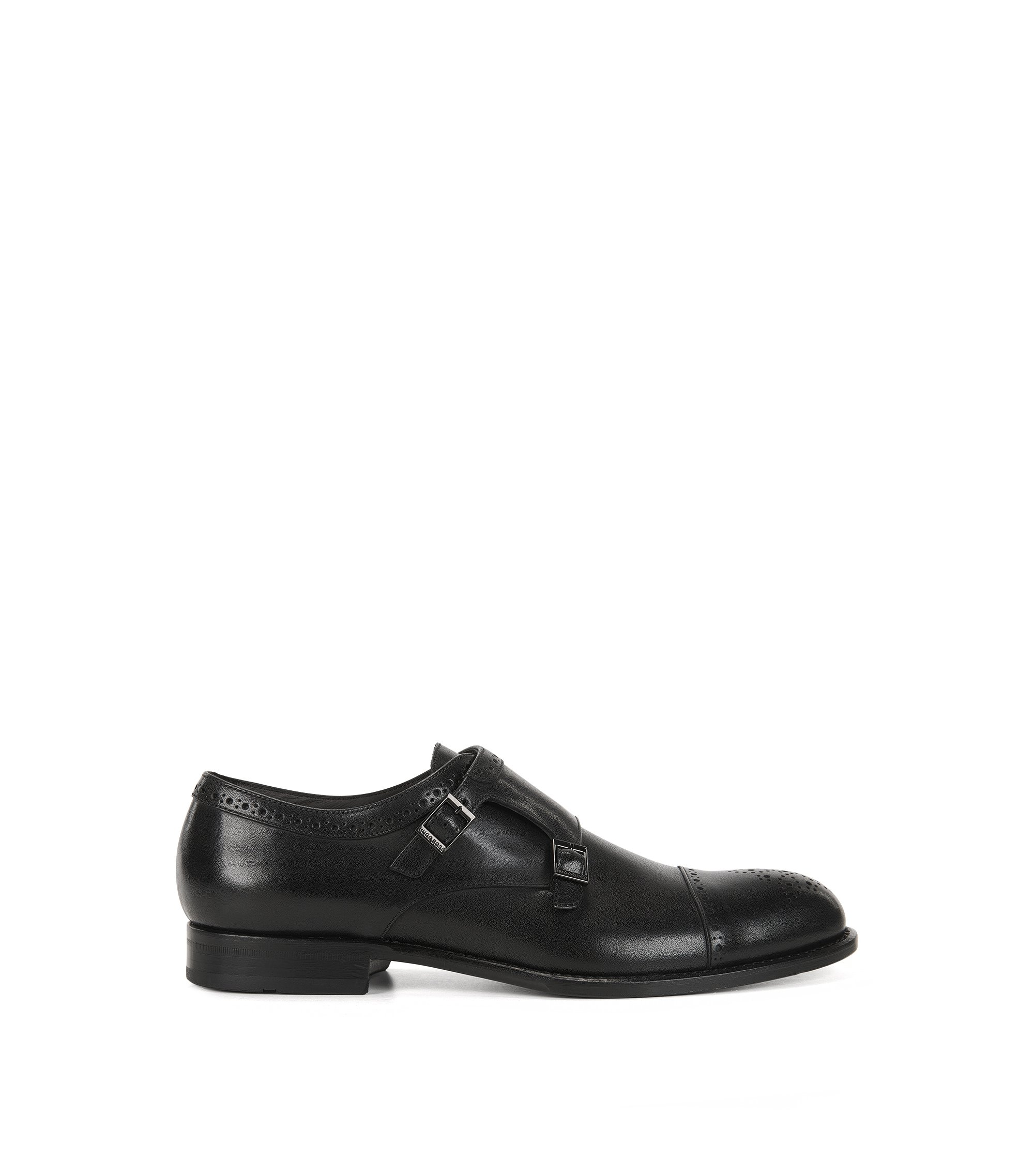 Leather monk shoes with brogue details, Black