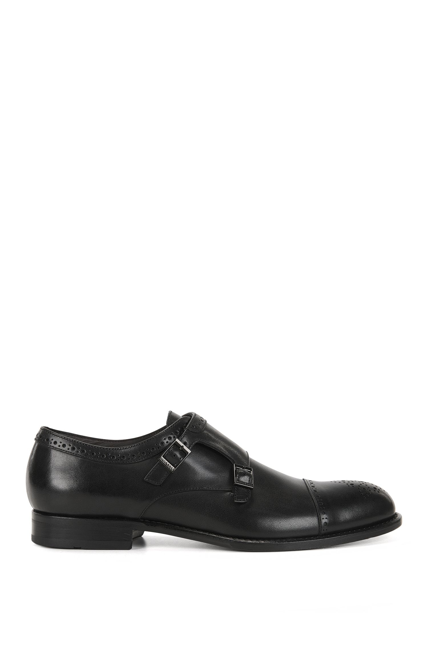 Leather monk shoes with brogue details