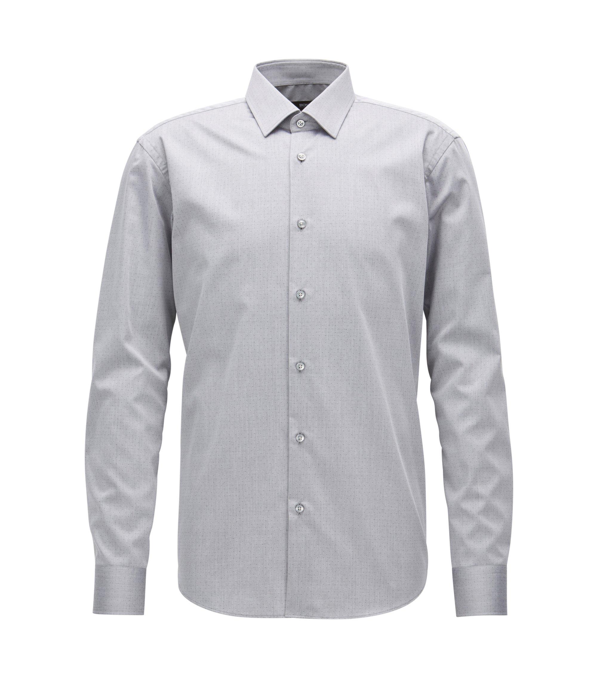 Regular-Fit Hemd aus knitterfreier Baumwolle, Grau