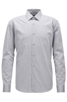 Regular-fit shirt in wrinkle-free cotton, Grey