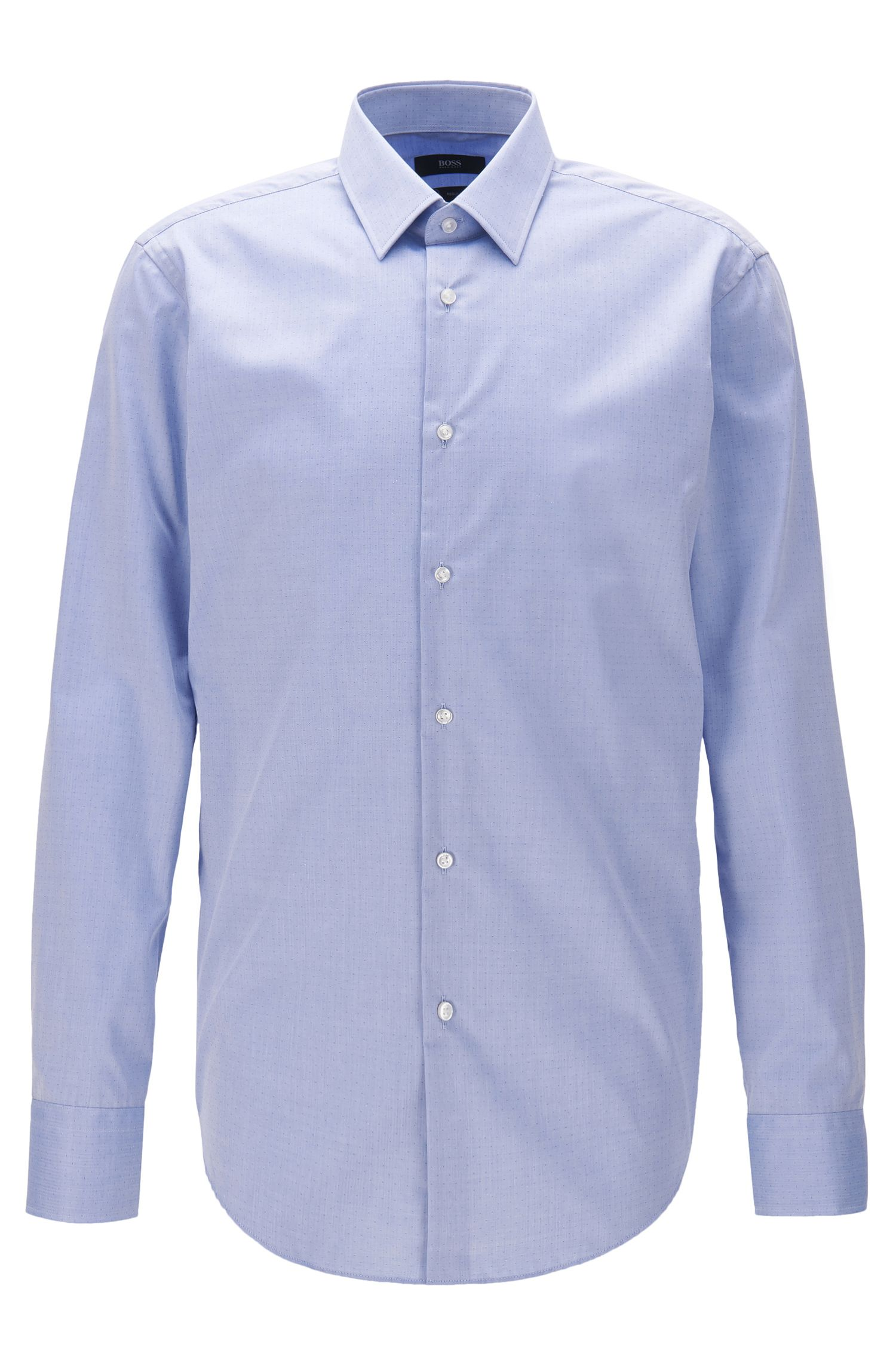 Camicia regular fit in cotone antipiega
