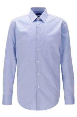 Camicia regular fit in cotone antipiega, Blu