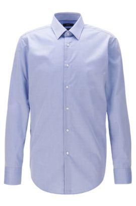 Regular-fit shirt in wrinkle-free cotton, Blue