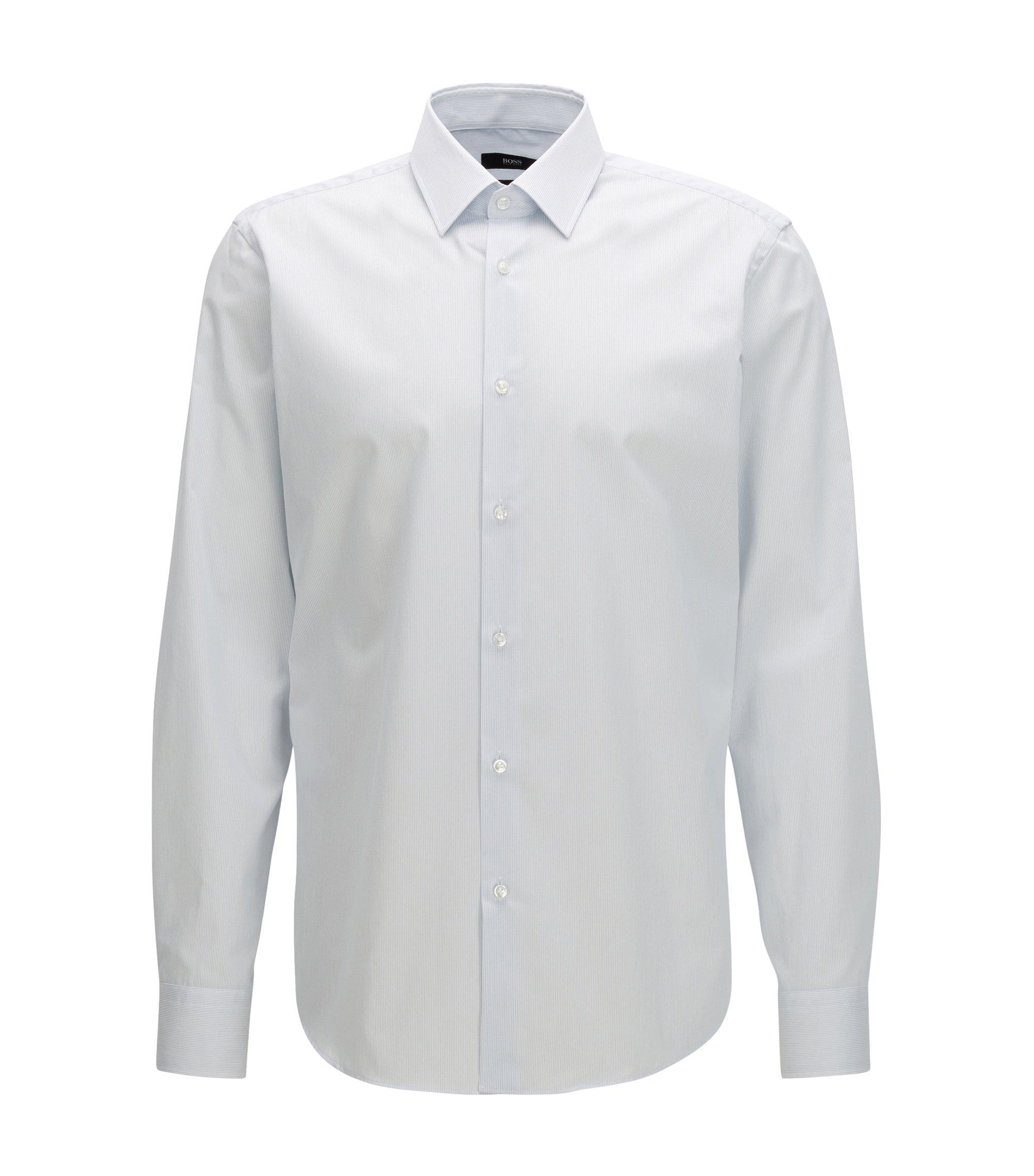 Camisa regular fit en algodón suizo a rayas, Celeste