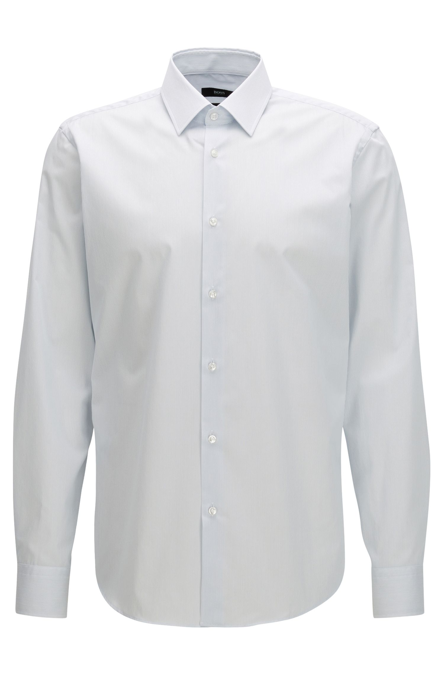 Regular-fit shirt in pure striped cotton