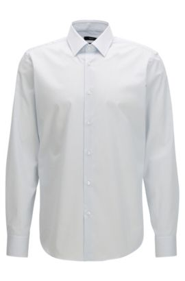 Camisa regular fit en puro algodón a rayas, Celeste