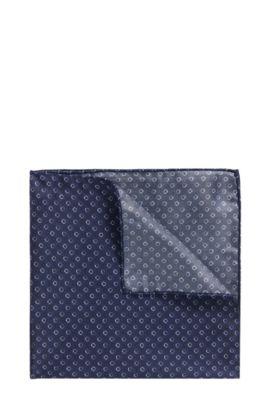 Pochet van zijde met grafische print, Donkerblauw