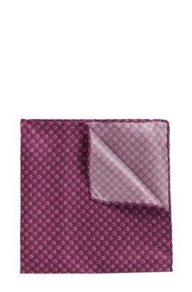 Pochette carrée en soie à imprimé graphique, Rouge sombre