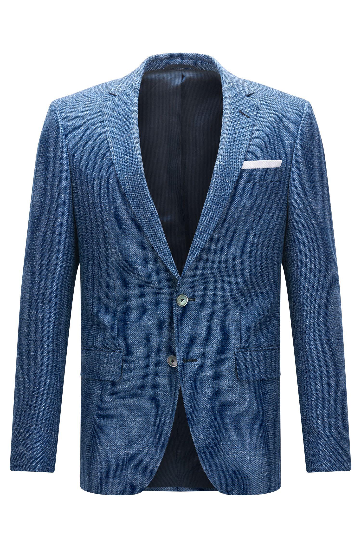 Slim-fit jacket in virgin wool, silk and linen