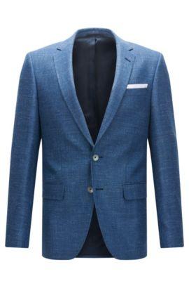 Veste Slim Fit en laine vierge, soie et lin, Bleu foncé