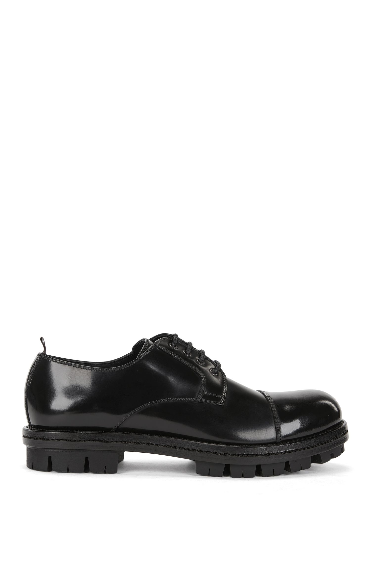 Lace-up Derby shoes in brush-off leather