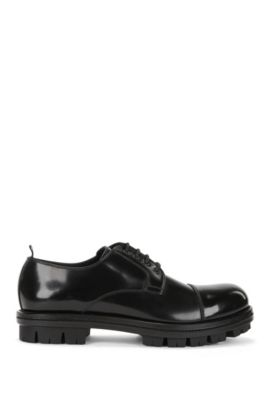 Lace-up Derby shoes in brush-off leather, Black