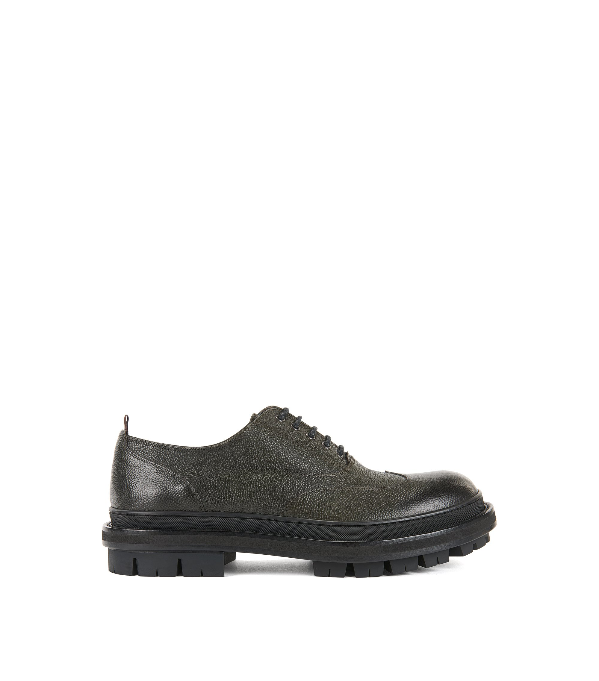 Scarpe Oxford in pelle martellata, Verde scuro