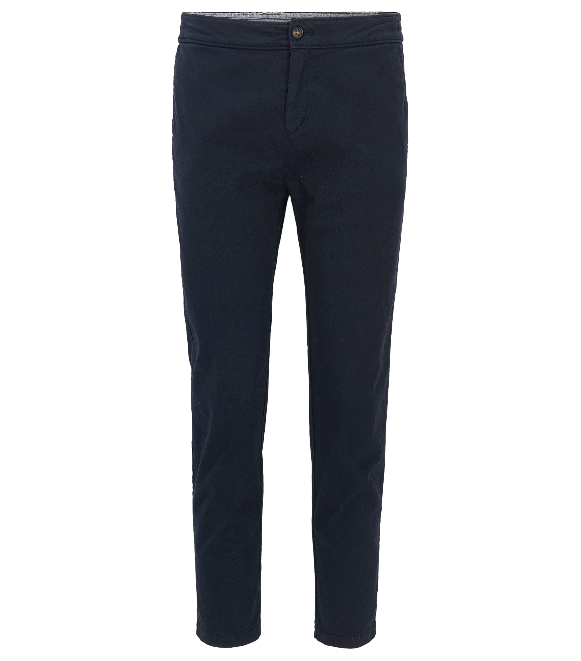 Regular-fit trousers in stretch cotton, Dark Blue