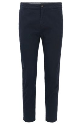 Pantaloni regular fit in cotone elasticizzato, Blu scuro