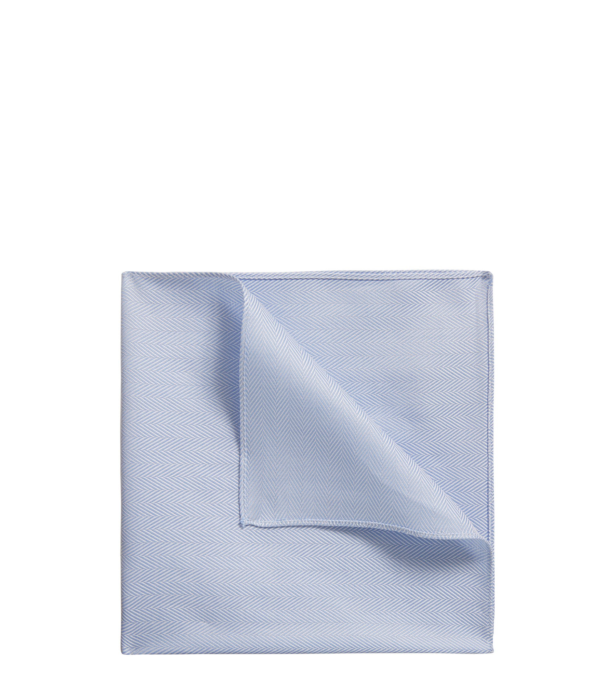 Pocket square in herringbone cotton, Light Blue